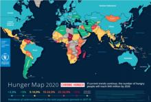 2020 - Karta över hunger i världen